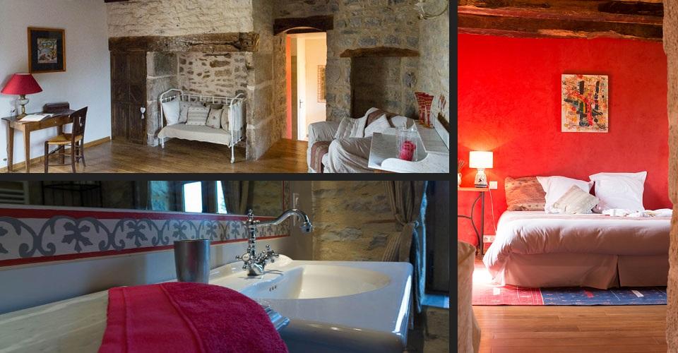 chambre colonjac rouge avec cheminée et parquets de chêne