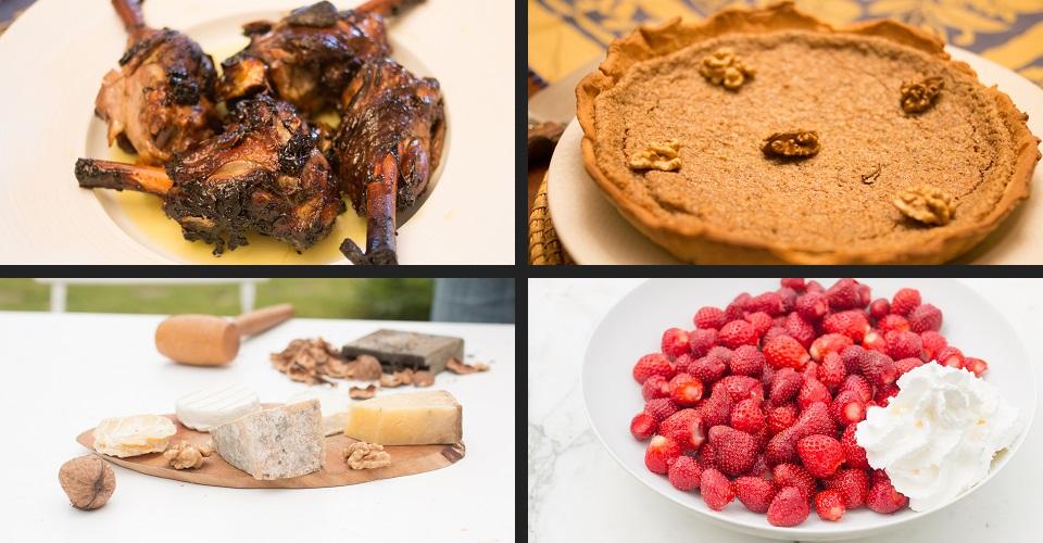 table hôtes flan d'asperges, souris d'agneau aux miel et thym, tarte aux noix, fraises