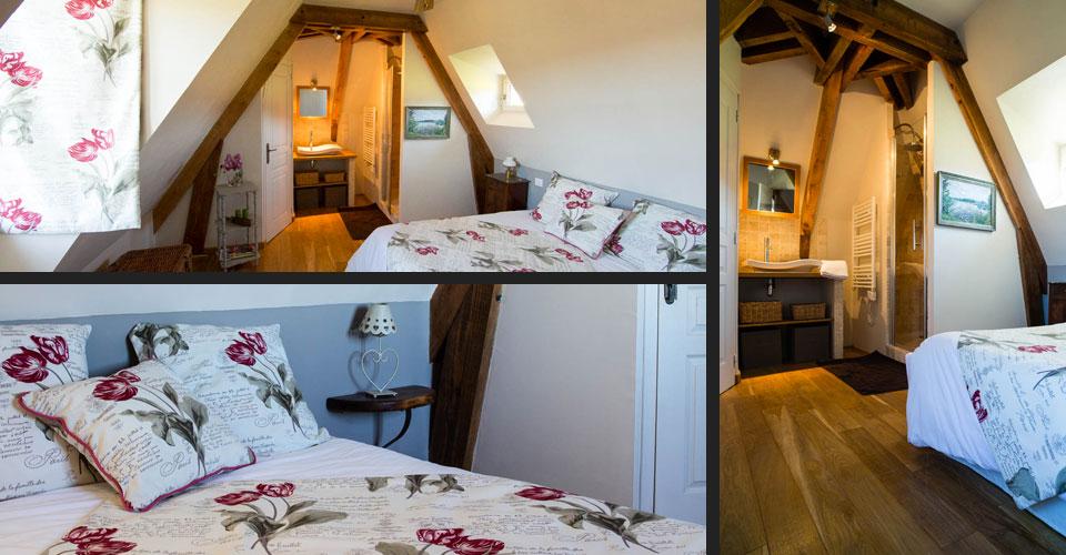Chambre d'hôte avec enrayure de charpente : bel ouvrages en bois