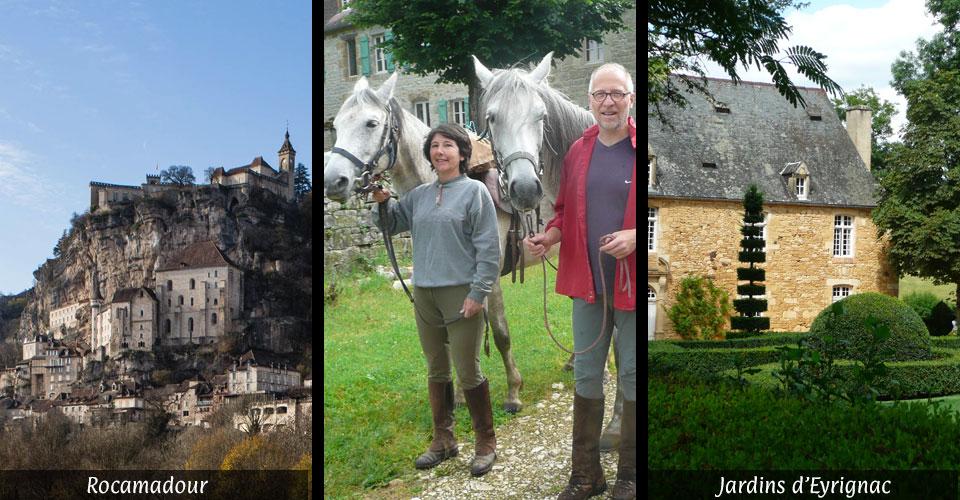 Rocamadour cavaliers-randonneurs partenaires de centres équestres jardin d'eyrignac